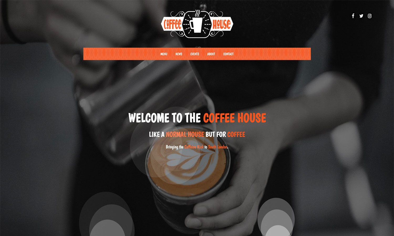 Coffee House Website Homepage Screen Grab
