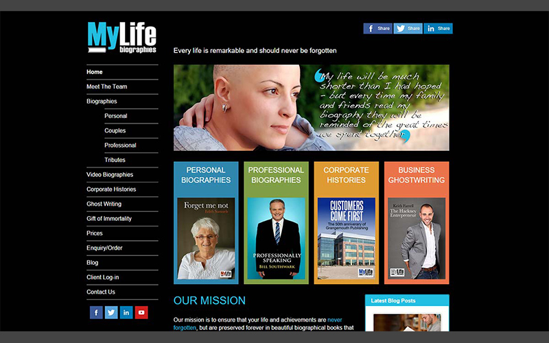 Biography and writing services website design