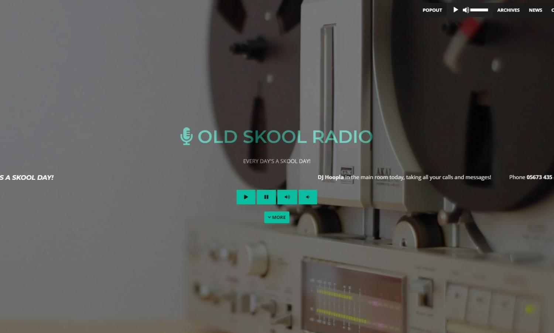 Old Skool Radio Website Homepage Screen Grab