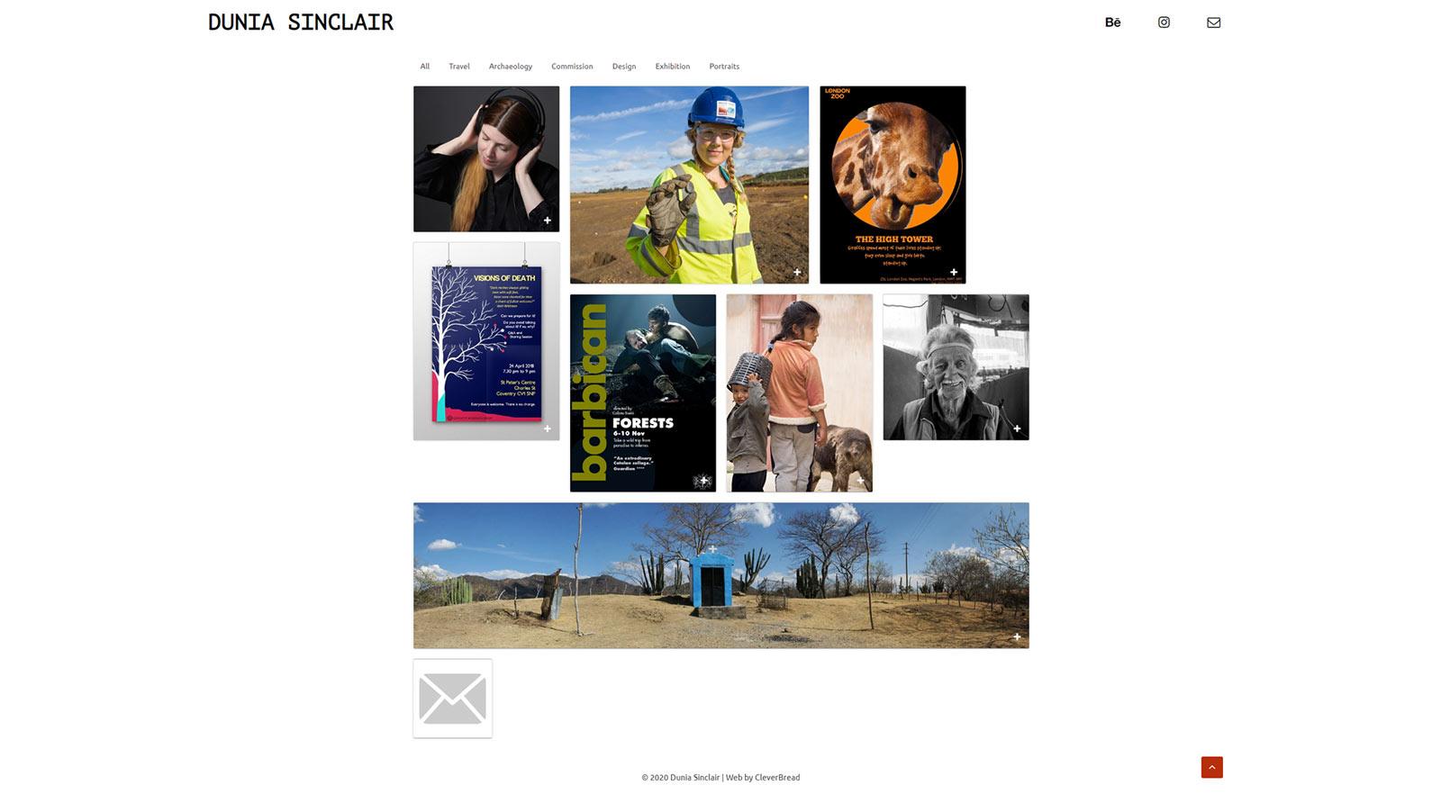 Dunia Sinclair creative portfolio website