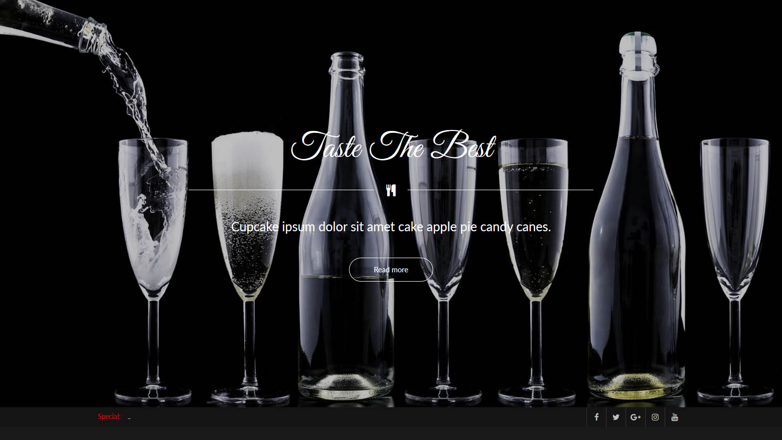 Fancy wine restaurant bistro web design
