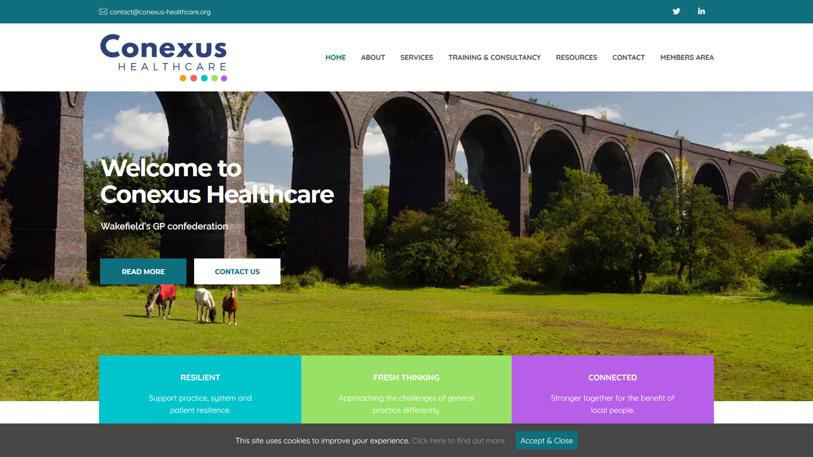 A commercial website for a healthcare company