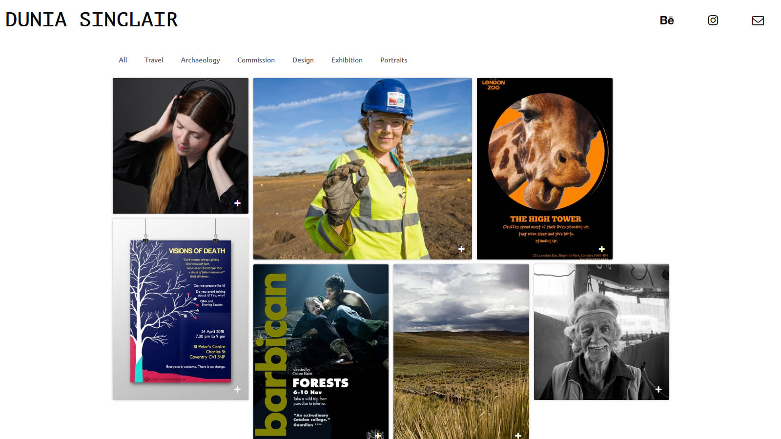 A bold, big front page leads to a simple and basic photography and graphic design portfolio website