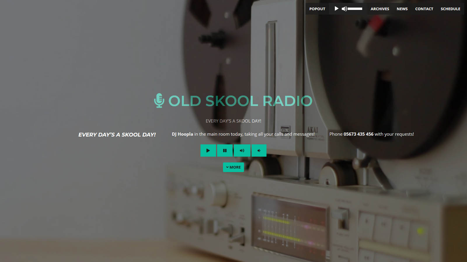 Website for a radio show with schedule and video animation